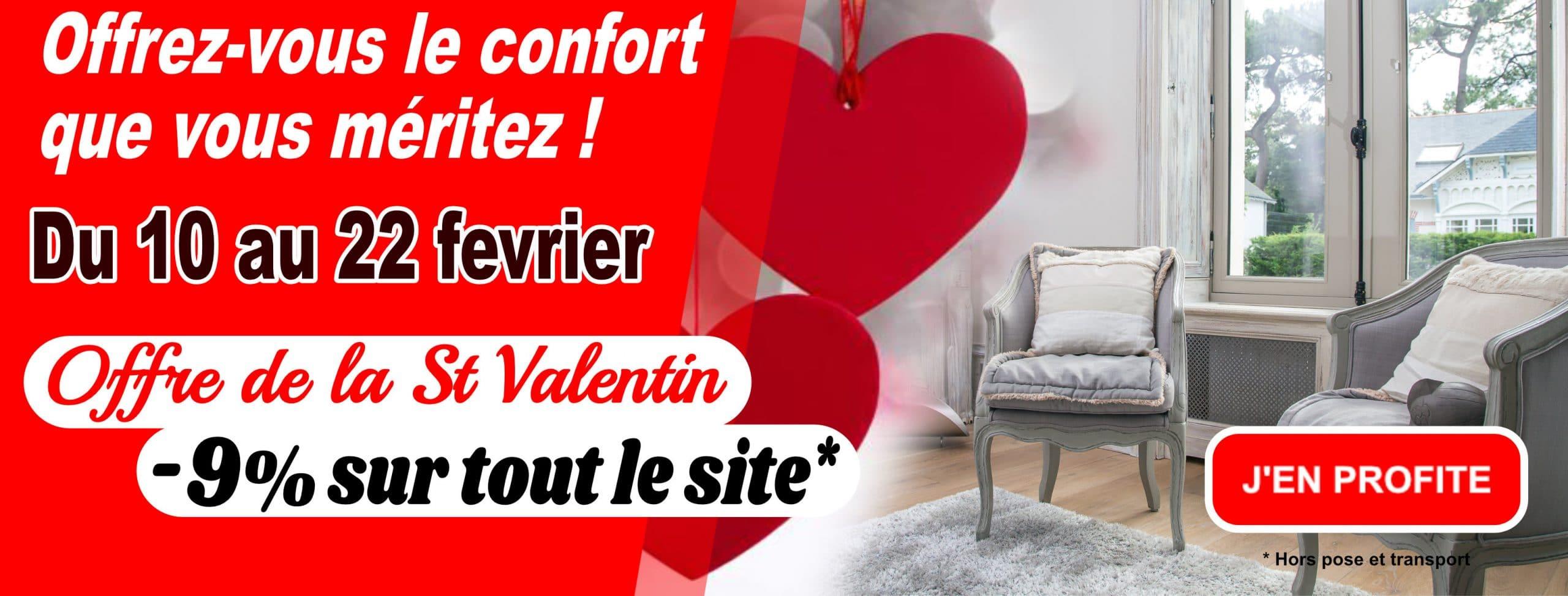 – 9% de remise sur tout le site ! Pour la St Valentin ! Offrez-vous le confort que vous méritez !